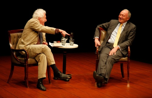 Ken Livingstone on stage with interviewer Bill Heine at Guildford last night. Photo Hattie Miles
