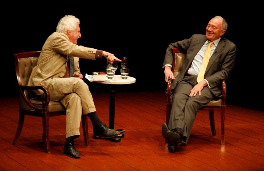 Ken Livingstone on stage with interviewer Bill Heine at Guildford last night. Photo Hattie Miles