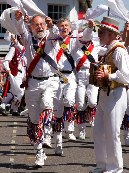 Morris men in full flight at Wimborne. Picture Hattie Miles