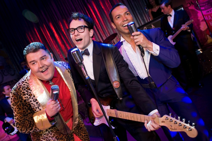 Glen Joseph (centre) as Buddy Holly with two of the previous actors to play the Big Bopper and Ritchie Valens