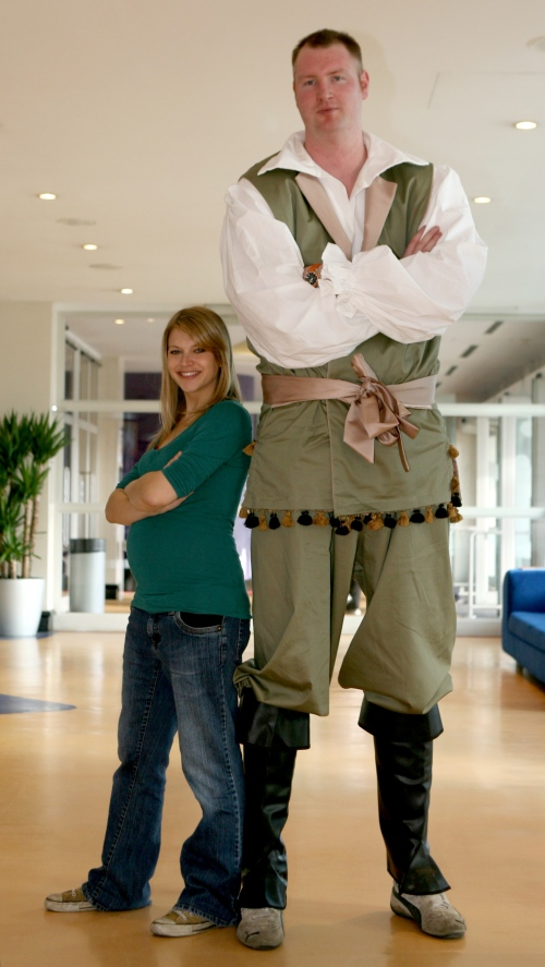 Neil Fingleton and Jenny Platt  preparing for panto in Dec 2009. Picture: Hattie Miles