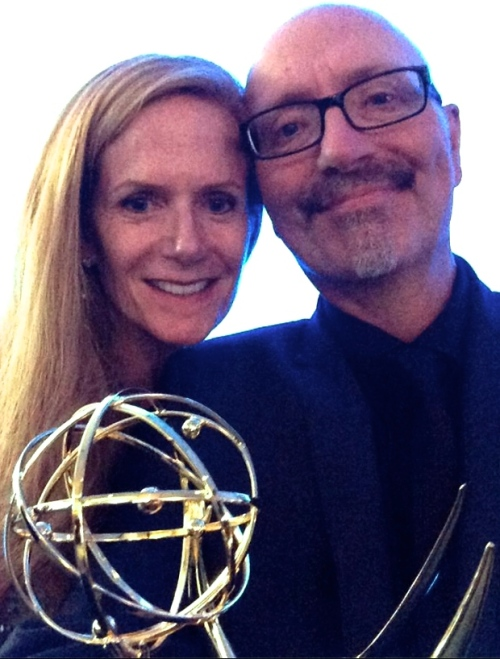 Simon and wife Lolly Gallup with his Emmy in Los Angeles last night.