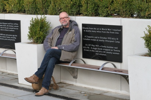 Me sitting by a commemorative tablet describing the 25th May 1917  bombing