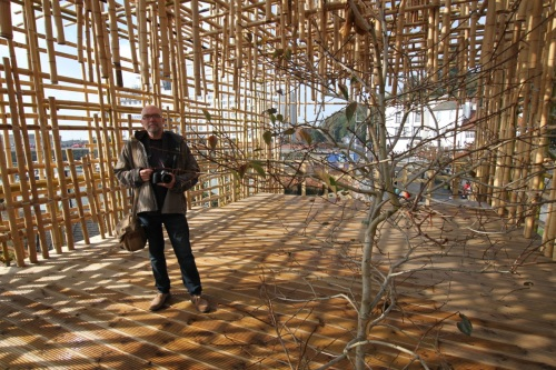 The bamboo structure of Gabriel Lester's cross-track observation deck