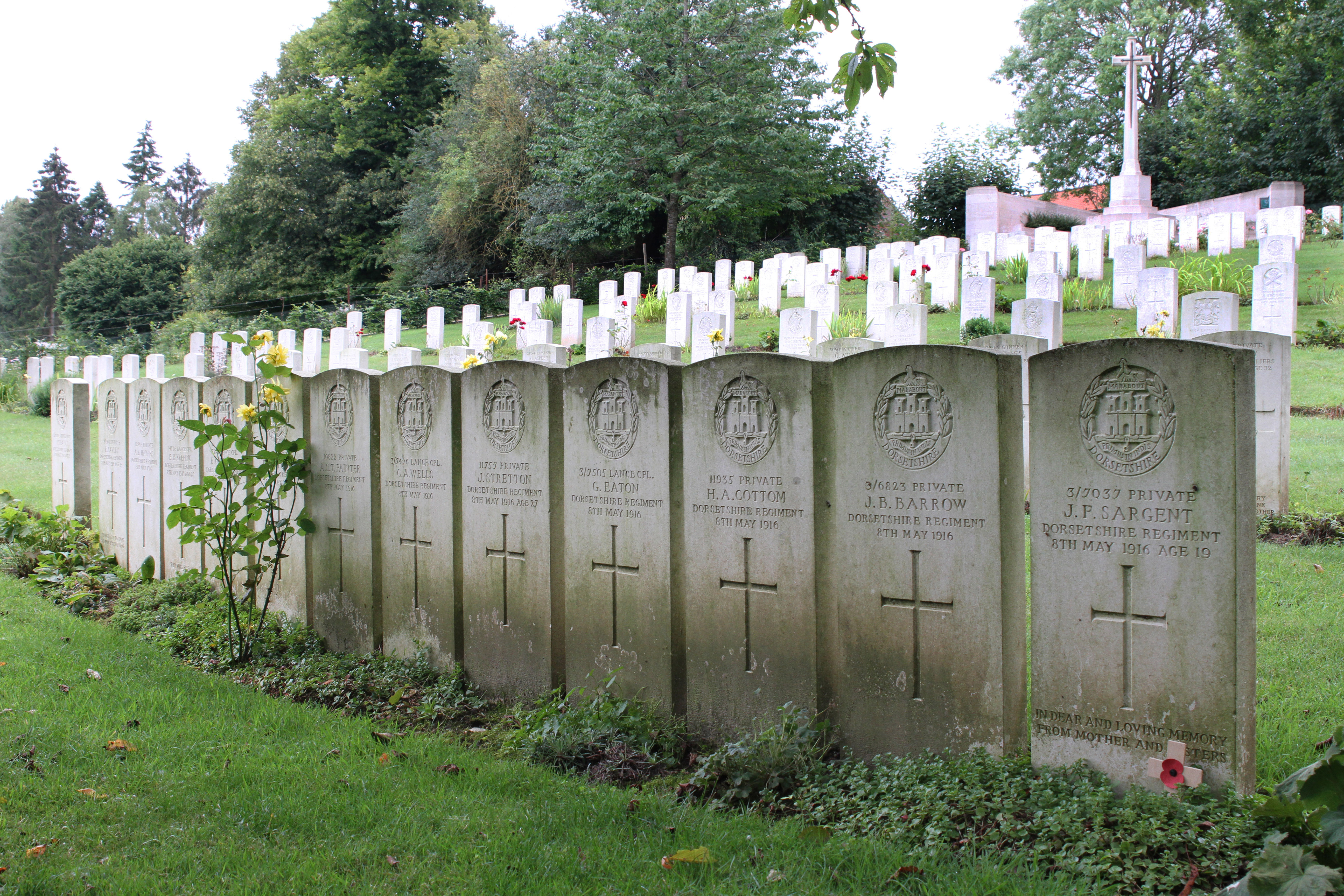 Thirteen soldiers from the Dorsetshires killed in action