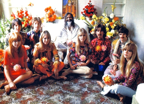 Beatles and wags with Maharishi