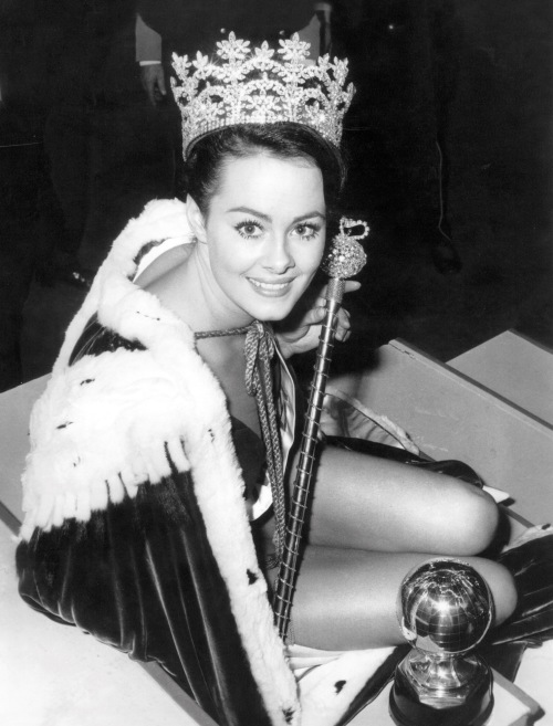 A 20-year-old Ann Sidney celebrates winning Miss World in November 1964