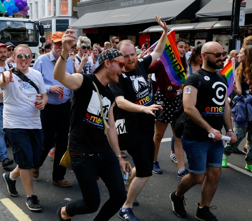 Celebrations as London's 2015 Pride march makes its way along Oxford Street