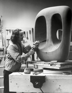 Barbara Hepworth at work in St Ives.