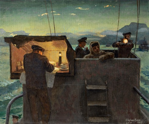 7Stephen Bone - Tank Landing Craft.On Bridge at Dawn 1943tiff.jpg