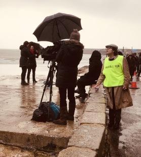 Film crew in the rain